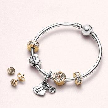 b9e17a156d99 S925 de plata para siempre amigos colgante firma pulsera DIY joyería  Original brazalete de oro emoción