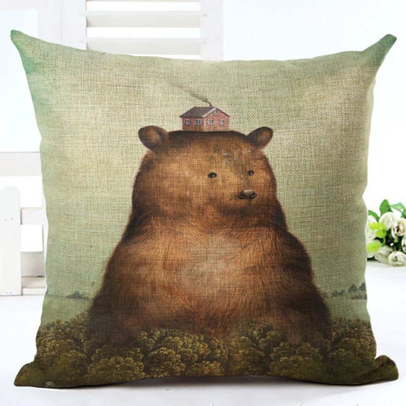 Square Bear Pattern Pillowcase Cushion Cover Throw Pillowcase For Sofa Car Seat Home Decor More Size For Choose F