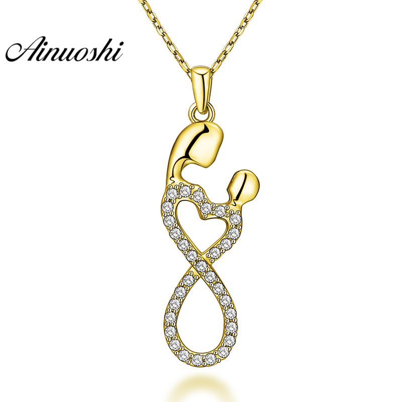 AINUOSHI 10K Solid Yellow Gold Pendant Moon Pendant SONA Diamond Women Men Fine Jewelry Twisted 8 Shape Design Separate Pendant цена 2017