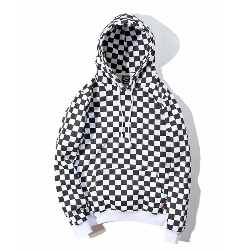 Youthcodes Plaid Lattice Grid Hoodie Men Justin Bieber Chess Fog Hip Hop Skateboards Cotton 100% Fleece Vintage Sweatshirts Men Careful Calculation And Strict Budgeting Men's Clothing