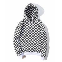 YouthCodes Plaid Lattice Grid Hoodie Men Justin Bieber Chess FOG Hip Hop Skateboards Cotton 100% Fleece Vintage Sweatshirts Men