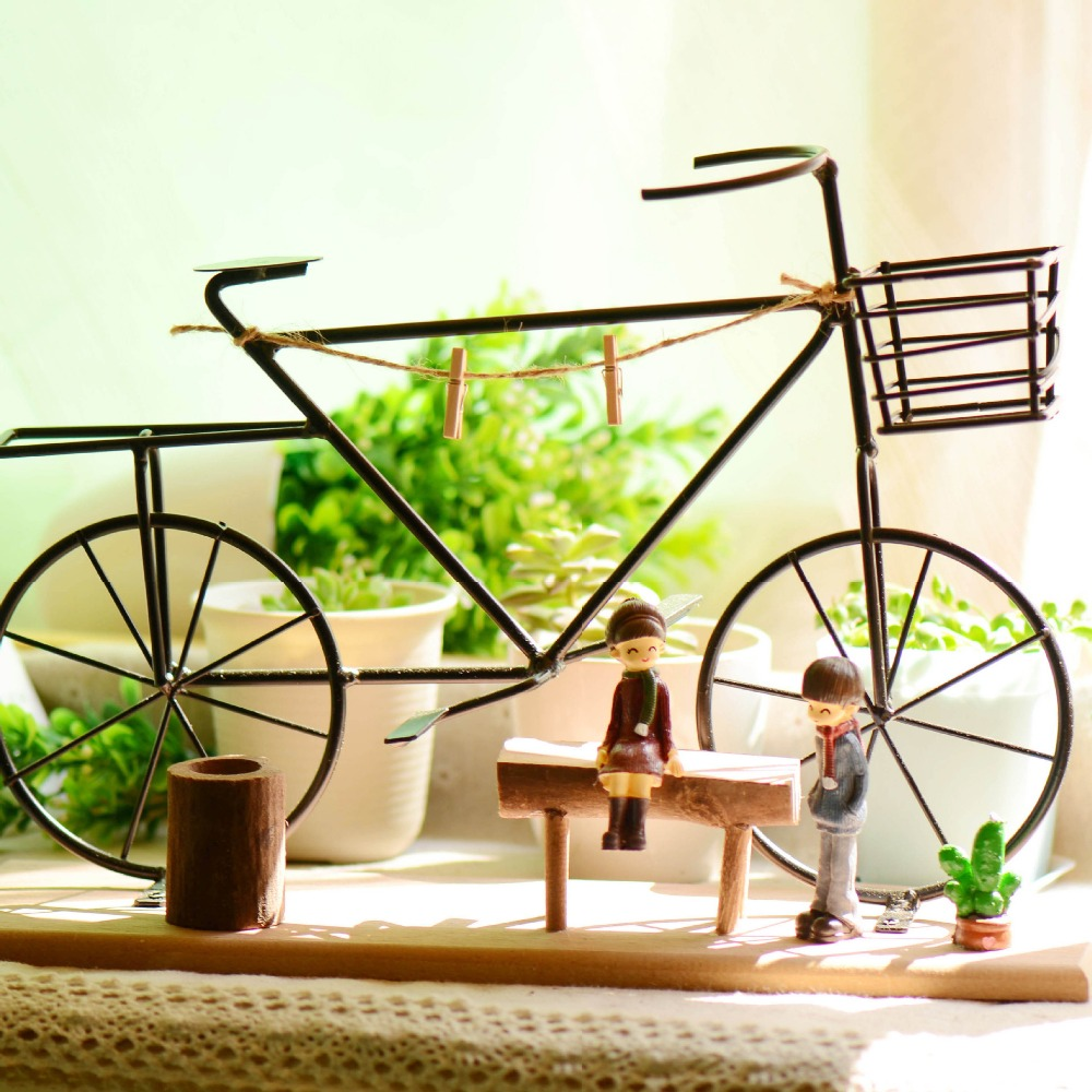Free Shipping(1pcs/lot)American Rural Iron Wood Combination Innovate Decoration Bicycle Lovers Tabletop Arts&Crafts Gift