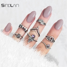 Sindlan Ring 7pcs / Set Wedding Jewelry Bohemian Vintage Elephant Turtle Lotus Leaf Charm Charm Crystal Knuckle Ring For Women