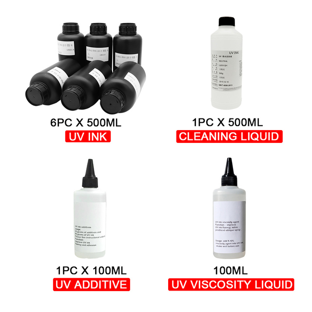 OYfame Imported UV Ink 6colorl UV ink+Cleaning liquid +  Additives + Viscosity liquid For uv Printer