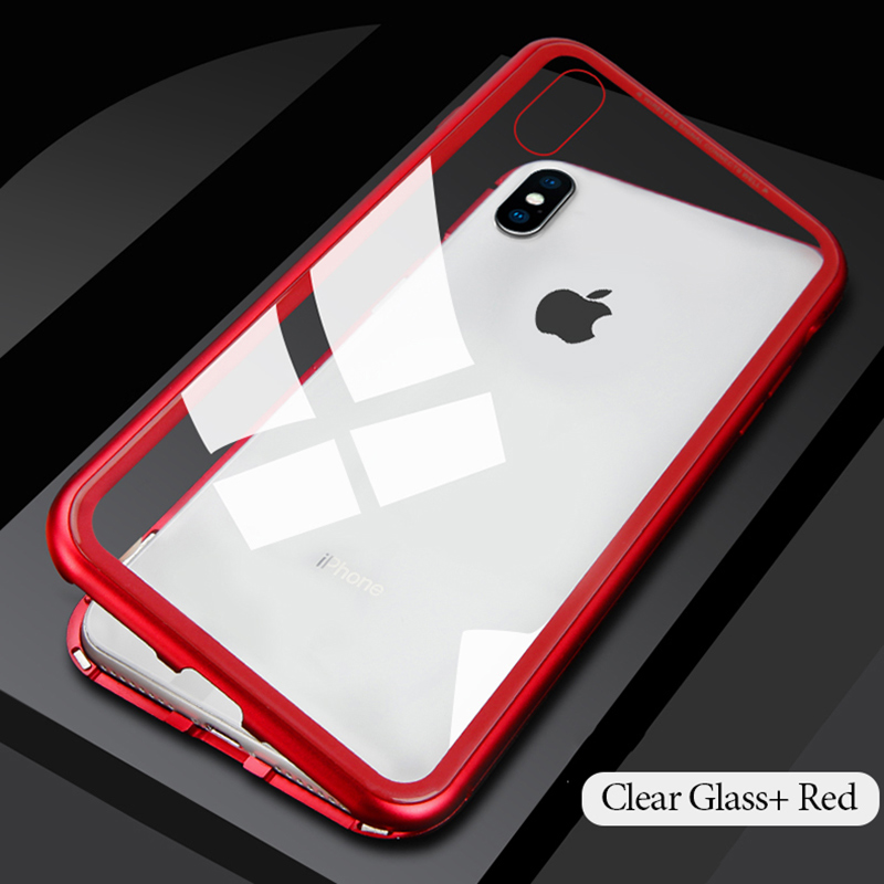 696e5b2cdd4 iPhone X Case, Magnetic Adsorption Case Ultra Slim Metal Frame Tempered  Glass with Built-in Magnet Flip Cover - Train Daily Fitness
