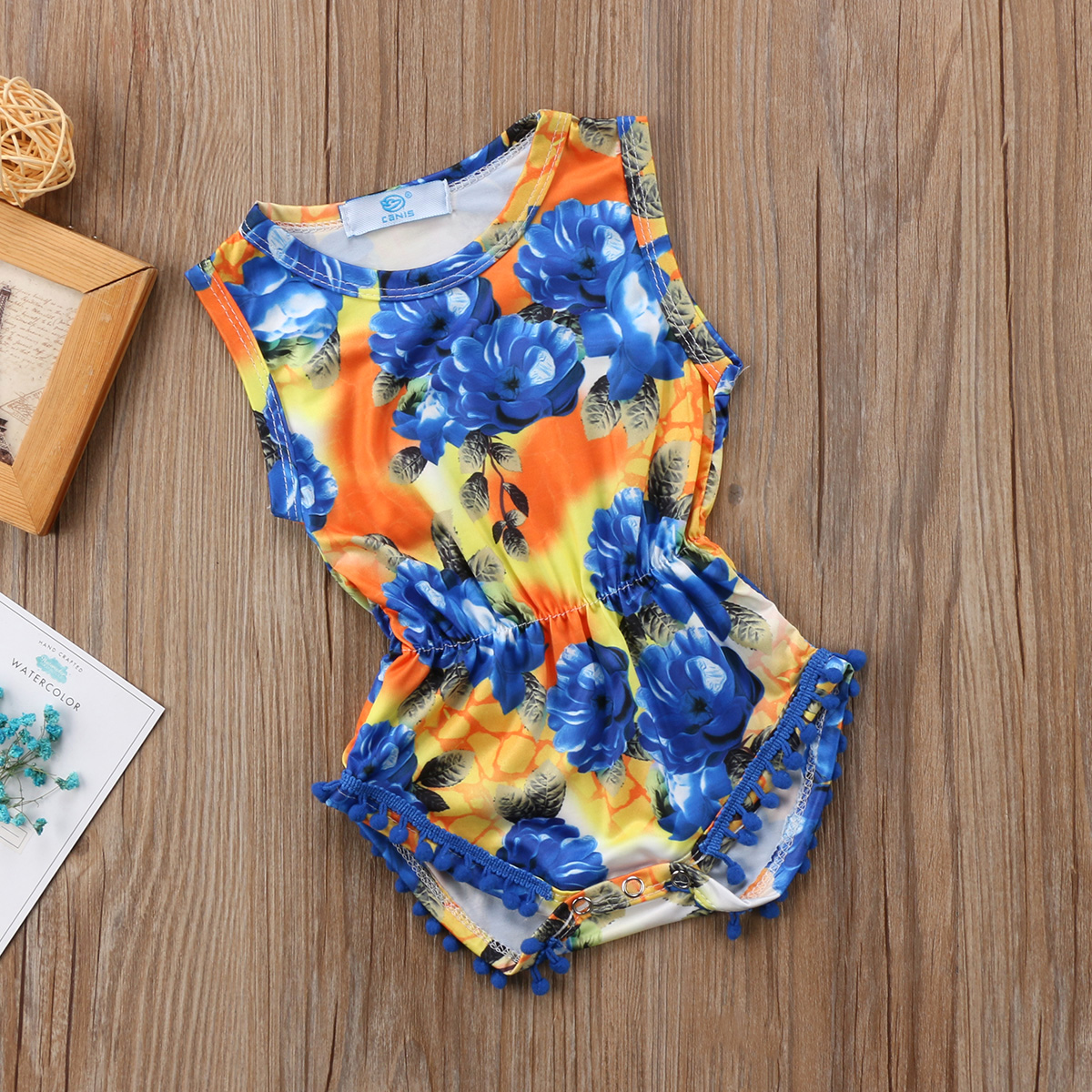 Kid Infant Baby Girl Clothes Floral Rompers Bohemian Corset Romper Jumpsuit Tassel Ball Beach Playsuit Clothes Outfit 0-18M
