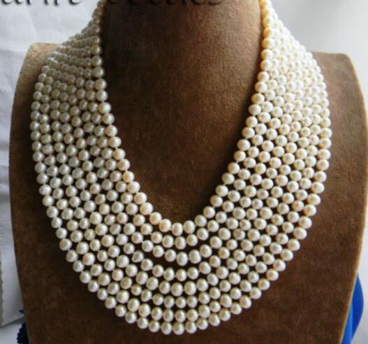 ENVÍO GRATIS>>>>>>>> Caliente venta nuevo Estilo 8 3strands 18 ''7mm Redondo Blanco de Agua Dulce Collar de Perlas
