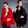 2015 Winter  Womens Leather Grass Fox Fur Collar Poncho Cape Bridal Wedding Dress Shawl Cape  Lady Wool Vest Fur Coat