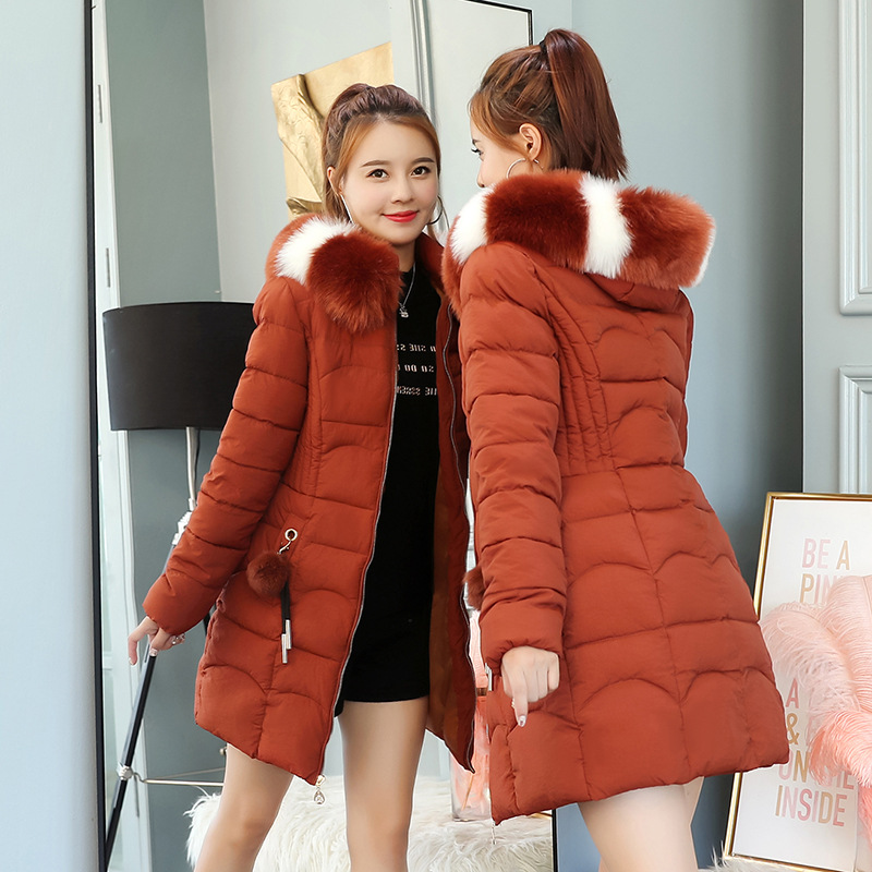 2018 Winter Korean Big Fur Collar   Parkas   Women Slim Mid-Long Fur Ball Thick Snow Wear   Parka   Coat Female Wadded Jackets Clothing