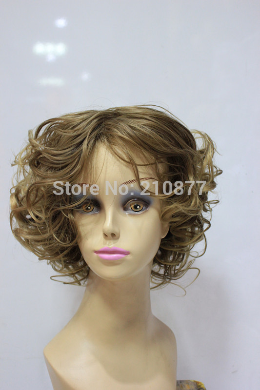 multi color hair styles free shipping fashionable light brown multi color 1562 | free shipping Fashionable short light brown Multi Color curly hairstyles hair cheap synthetic wig Party Wig