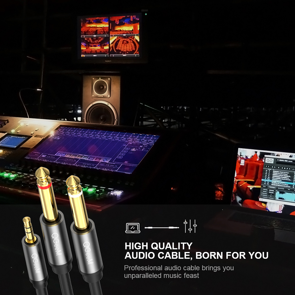 Image 4 - QGEEM Jack 3.5mm to 6.35mm*2 Adapter Audio Cable for Mixer Amplifier Speaker Gold Plated 6.5mm 3.5 Jack  Splitter Audio Cable
