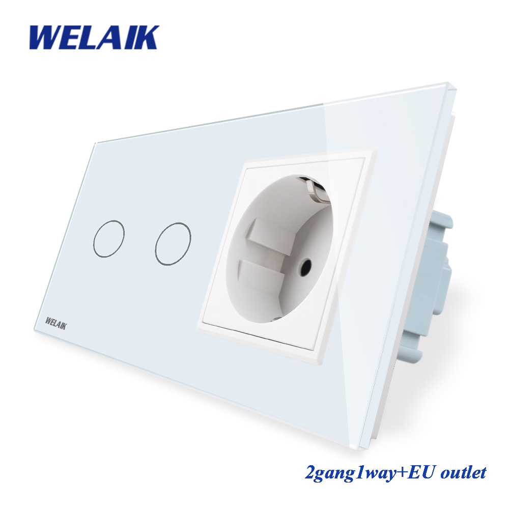 WELAIK Brand 2Frame Crystal Glass Panel Wall Switch EU Touch Switch Screen EU Wall Socket 2gang1way AC110~250V A29218ECW/BWELAIK Brand 2Frame Crystal Glass Panel Wall Switch EU Touch Switch Screen EU Wall Socket 2gang1way AC110~250V A29218ECW/B