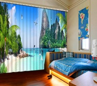 Custom 3d curtains Blackout photos high mountain water living room window curtains 3d curtains for bedroom