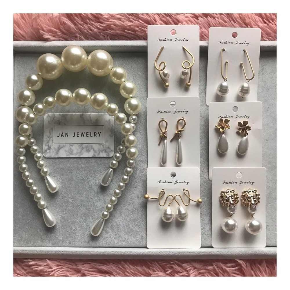 Dvacaman 7 Designs Real Natural Pearl Pendant Earrings Women Fashion Irregular Metal Drop Earrings Statement Party Gifts Jewelry