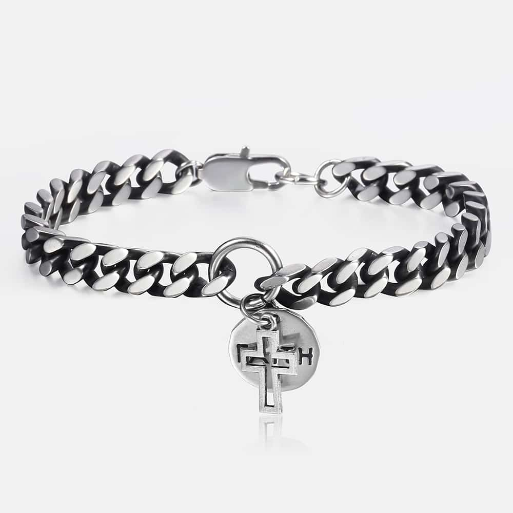 8mm Mens Bracelets Stainless Steel Curb Cuban Chain Cross Faith Charm Bracelet Male Jewelry Dropshipping Gifts for Men KDB238mm Mens Bracelets Stainless Steel Curb Cuban Chain Cross Faith Charm Bracelet Male Jewelry Dropshipping Gifts for Men KDB23