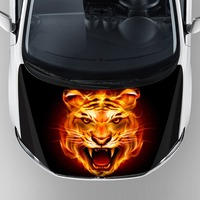 Unique Design Cool Tiger Graphics Car Wrap Sticker 3M Reusable Removable Adhesive Car Hood Bonnet Decal