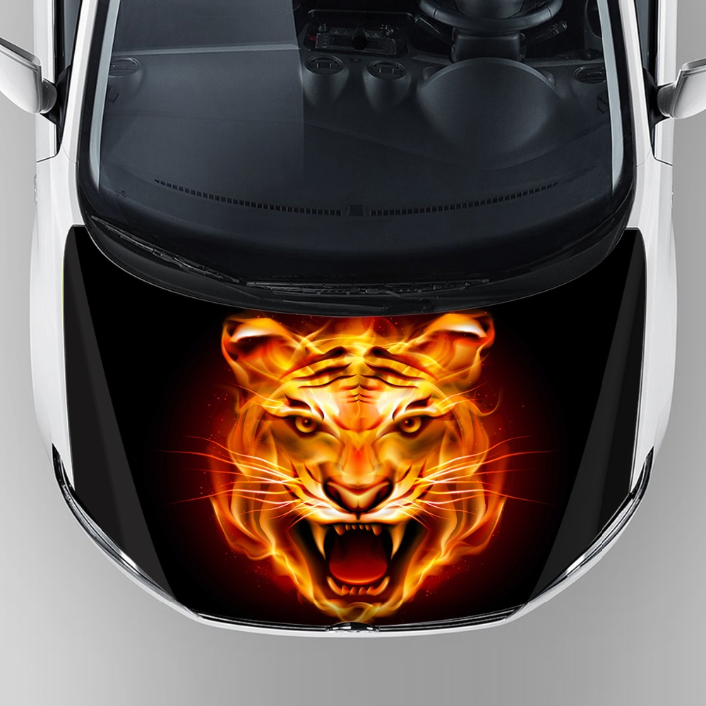 Фотография 3D print custom tiger head graphics car wrap paper reusable removable adhesive car hood bonnet decal sticker with scratch proof