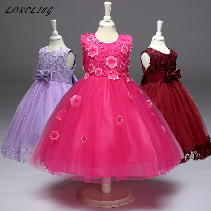 New 3-8Y Flower Girl Dress Kids Ball Gown Clothing For Girls Graduation Princess Summer Girl Party Dress For Communication 4pcs new for ball uff bes m18mg noc80b s04g