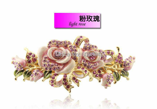 High Quality Pretty Handmade Flowers Hair Ornaments Barrette Unique Cloisonne Enamel Hair Clips  with gift box 1pcs Free