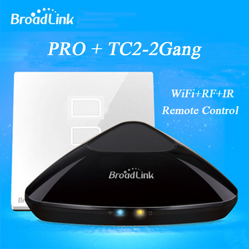 Smart Home Automation Broadlink RM Pro RM2 + TC2 2 gang Smart Switch WiFi IR & RF Smart Light Remote switch by phone free shipping 2017 broadlink rm pro rm03 smart home automation wifi ir rf universal intelligent remote control switch for