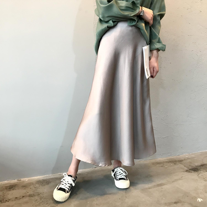 19 Spring Simmer Women High Waist Satin Skirt Metallic Color Long Skirt Shiny Silk Imitation Midi Skirt 9