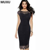 MUXU sexy autumn mesh crochet lace dress womens clothing patchwork transparent lace dress mesh black vestidos mujer office dress