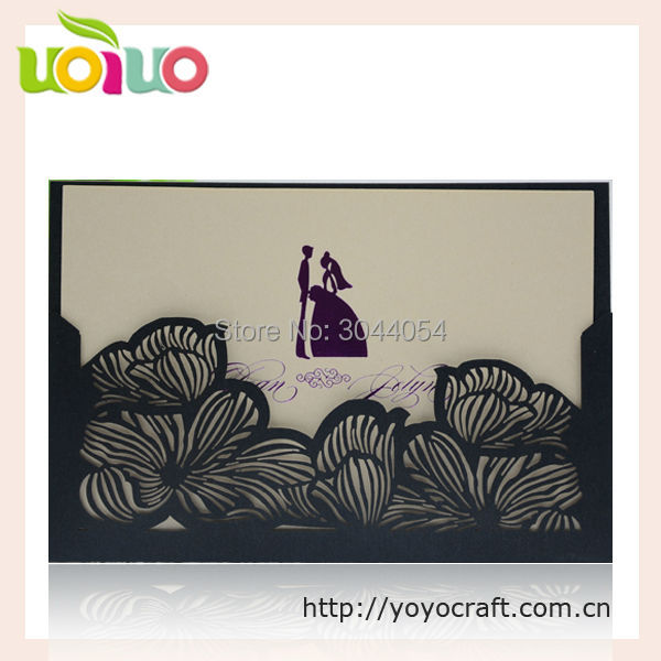 Us 31 45 15 Off Laser Cut Lace Customised Luxury Wedding Invitations Card Greeting Card Formal Black Lazer Cut Invitations Party Favor In Cards
