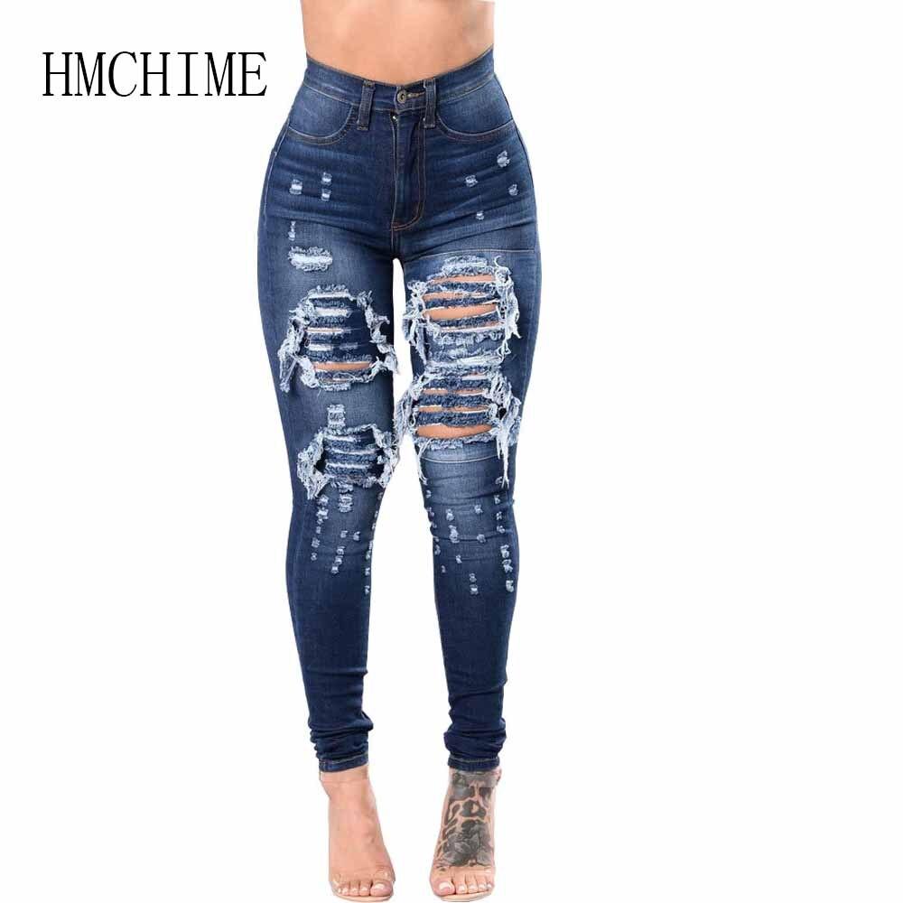 Alta Cintura Ripped Jeans Mujer Paquete Cadera Vaquero Denim Pantalones Vintage Blanqueado Novio Jean Moda Sexy Slim Stretch Pantalones Pantalones Vaqueros Aliexpress