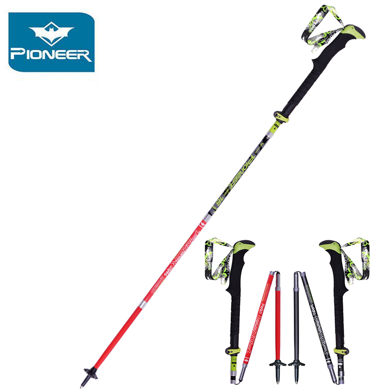 Pioneer Nordic Walking Stick 100% Pólos Trekking Carbono Ultraleve Varas Pólo Caminhadas Bengala Dobrável Ajustável