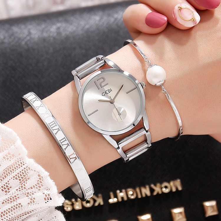 2019 GEDI Fashion Rose Gold Women Watches Top Luxury Brand Ladies Quartz Watch 3 Pieces S-Shock Watch Relogio Feminino Hodinky