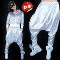 2014 Хип-хоп джаз серебро блестка шаровары висит промежности брюки хип-хоп танцевальные костюмы женщины спортивная