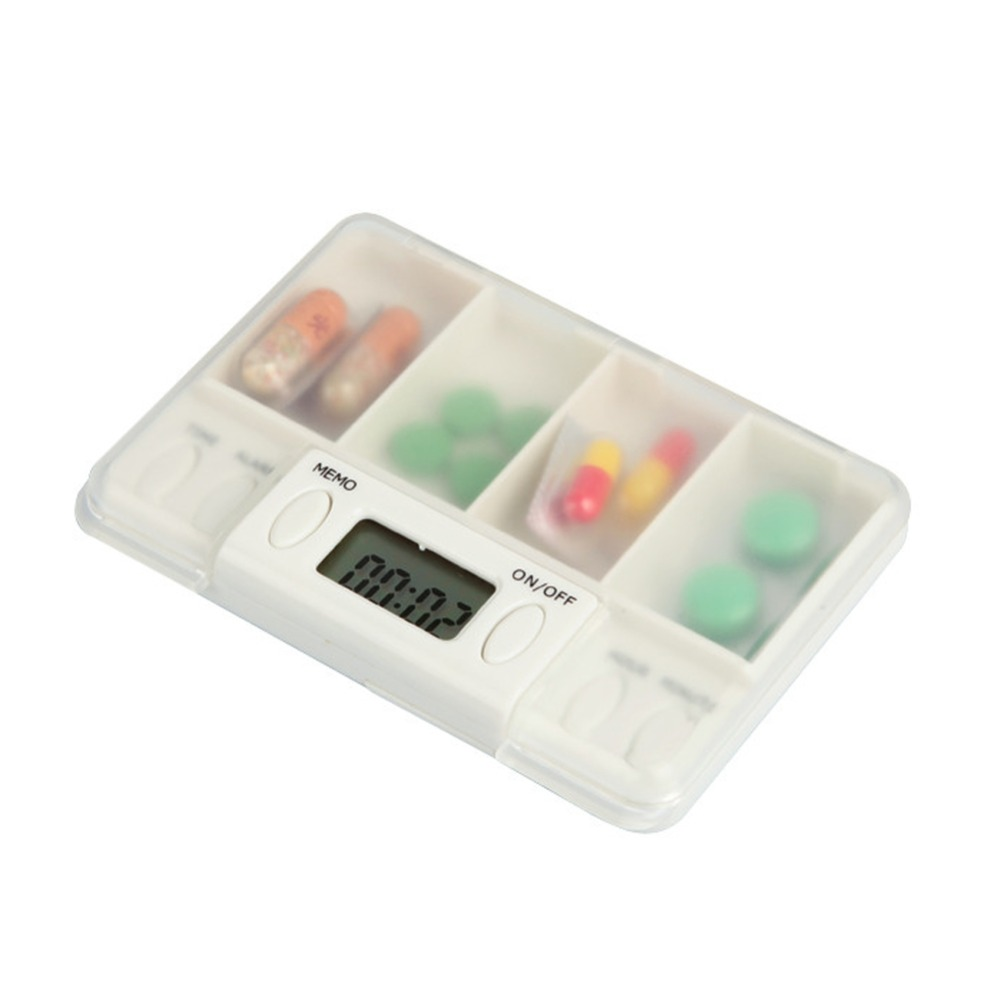 4-day Pill Box Organizer Dispenser Drug Storage Electronic with Alarm Reminder White