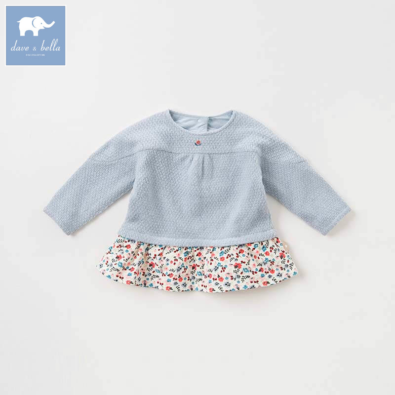 DBM8635 dave bella autumn baby girls clothes children long sleeve t-shirt infant toddler high quality tops kids with ruffle tees db2588 dave bella autumn unisex infant baby girls boys fashion t shirt kids cotton lovely tops children high quality tee