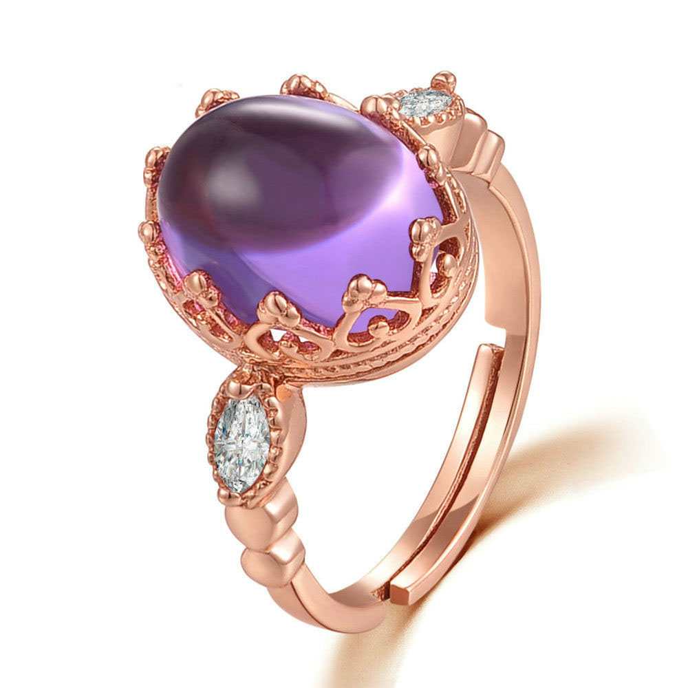 Oval Natural Amethyst 925 Silver CZ Adjustable Ring