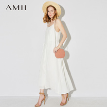 Amii 2018 Лето Для женщин отпуск плиссированные ремень шифоновое Спагетти ремень Макси платье