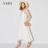 Amii 2018 Summer Women Vacation Pleated Belt Chiffon Spaghetti Strap Maxi Dress