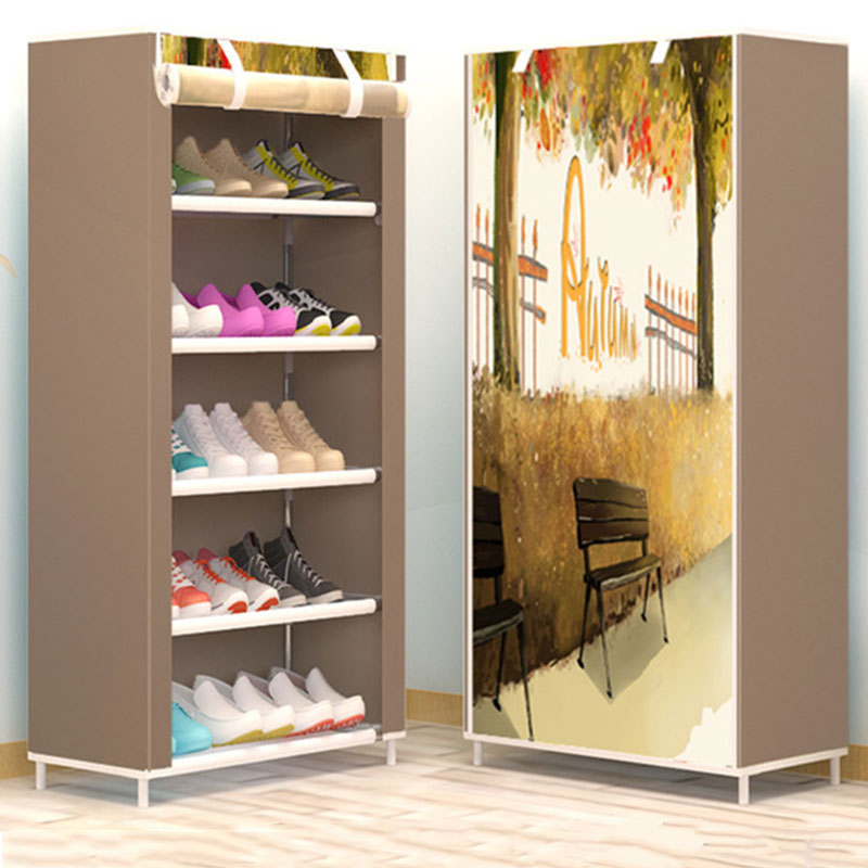 Six Layer Five Gird Cloth Shoe Cabinet Thicken Non-woven Fabric Dustproof Shoe Rack Creative DIY Combination Shoe Storage Shelf