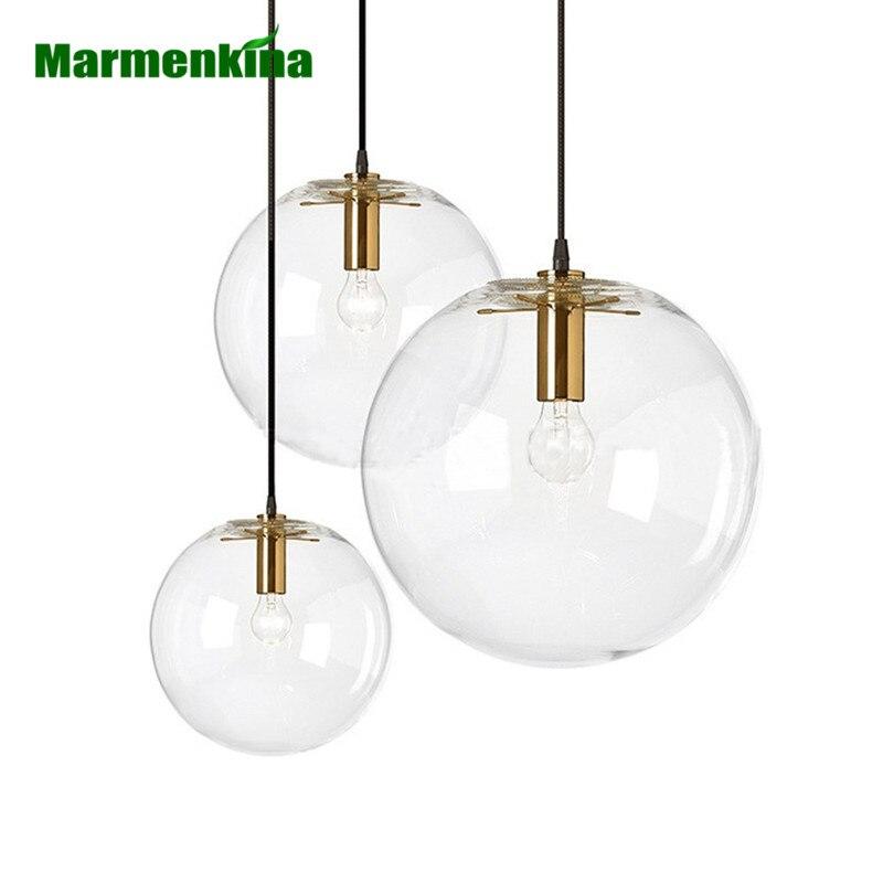 Işıklar ve Aydınlatma'ten Kolye ışıkları'de Iskandinav modern minimalist cam top şeklinde asma lamba tek kafa restoran bar kolye işık E27 AC110V 220V 230V title=