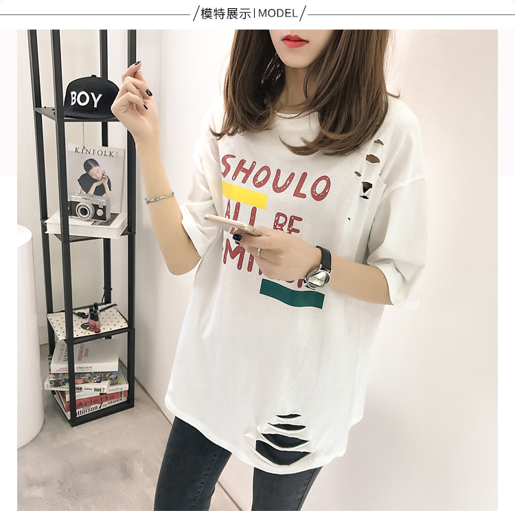 XL- 4XL 2019 new plus size summer loose High Street hole Letter print short sleeve O-Neck women T-shirt top tee TY5 13