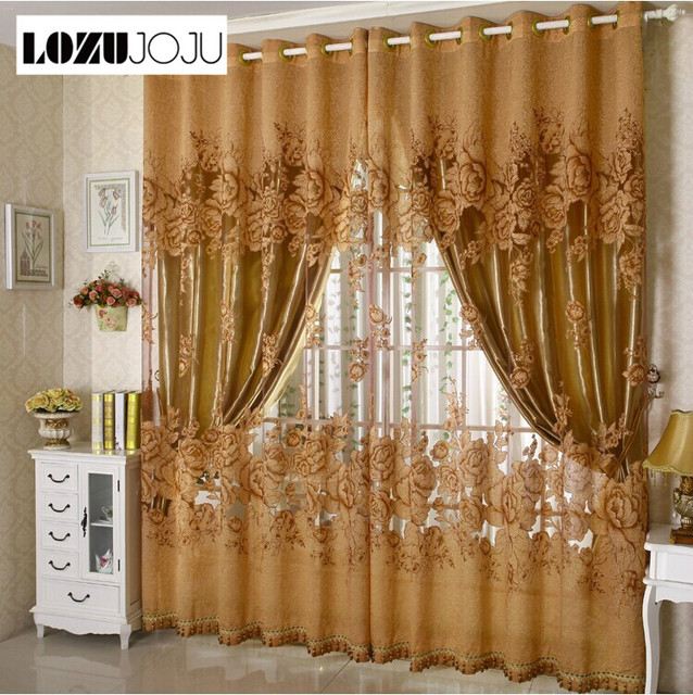 Lozujoju Free Shipping Luxury Fashion Fl Design Tulle Curtain With Blackout Lining Curtains For Window Living