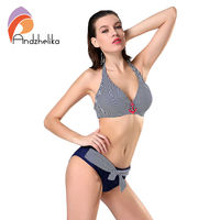 L 4XL Plus Size Swimwear 2016 New Women Striped Swimsuit Sexy Halter Large Cup Bikinis Brazilian