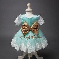 Mooie Mint sheer lace korte knielengte bloem meisje jurken baby baby 1st verjaardag outfit peuter jurk sequin sash met boog