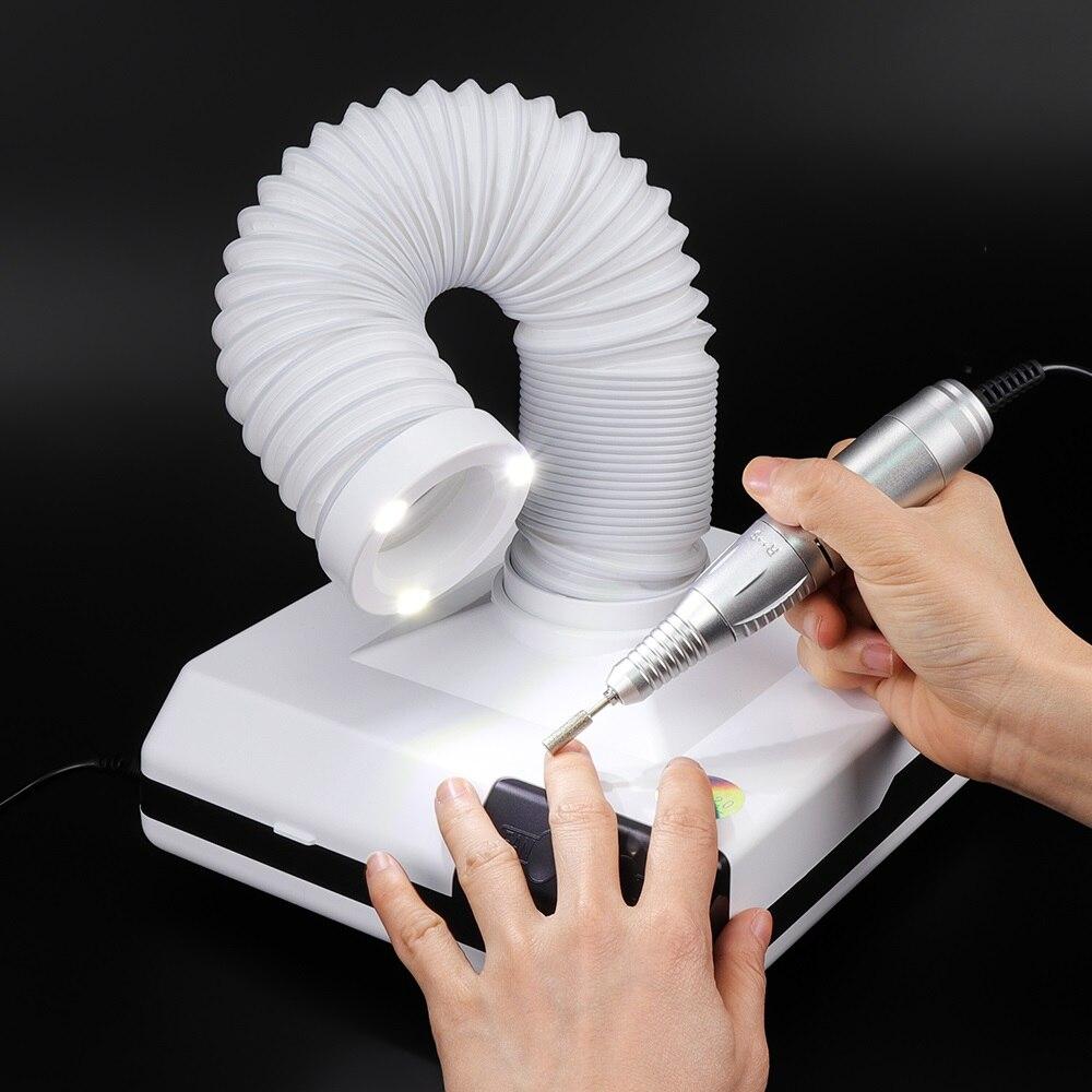 60 Вт Мощный лак для ногтей пылесборник для маникюра пылесос для дизайна ногтей Вентилятор пыли всасывания 3 светодиода для освещения 560 м