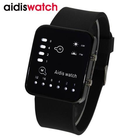 Binário à Prova Relógios de Silicone Homem Analógico Água Backlight Led Luminous Digital Electronic Sports Assista Mulher Criança Estudante Casais d'