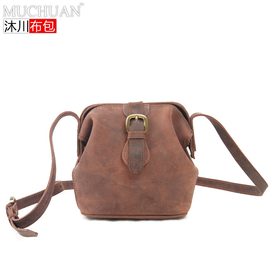 ФОТО New European Restore Ancient Bag Genuine Leather Woman Package Mini- Shoulder Packet Diagonal Package Crazy Horse Pure Package