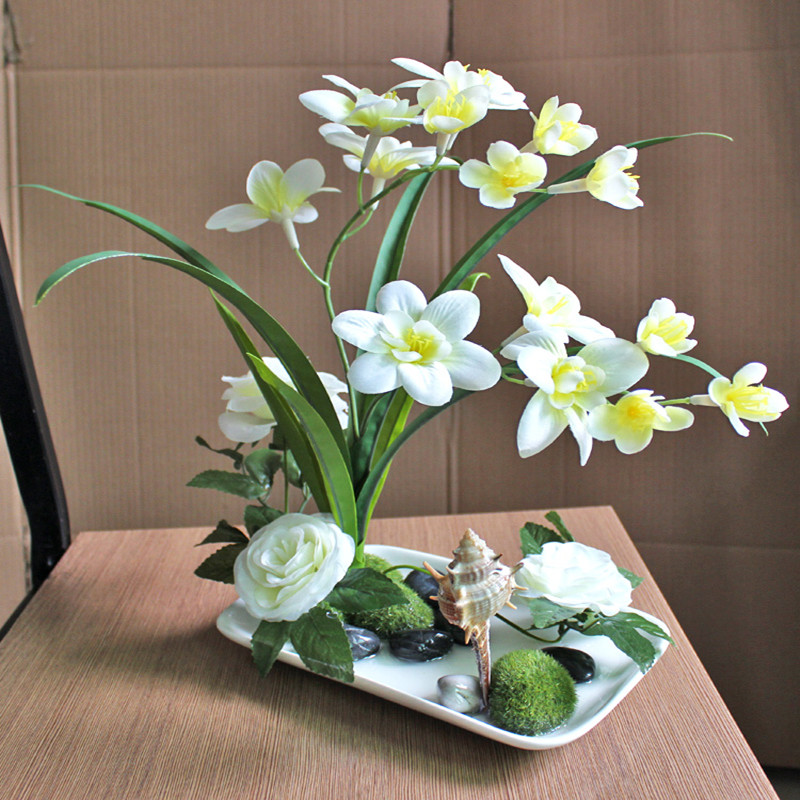 Décoration de la maison fleur artificielle ensemble phalaenopsis rose bonsaï fleur de soie
