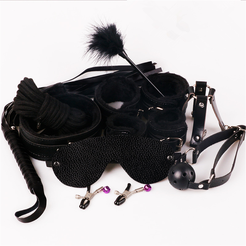 Sex Bondage Kit Set 10 Pcs Sexy Product Set Adult Games Toys Set Hand Cuffs Footcuff Whip Rope Blindfold Couples Erotic Toys 2