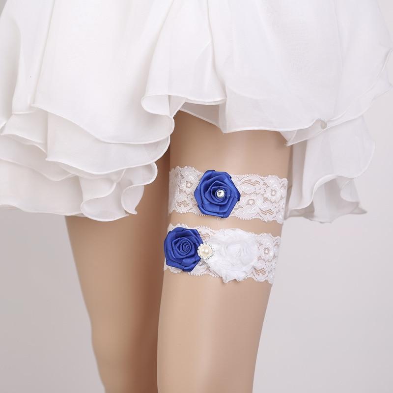 Bridal Accessory Blue Applique Flower Rhinestone Beading
