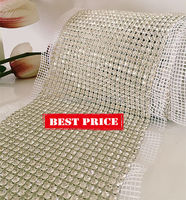 24 Rows 5 Yards More Shiny Crystal Rhinestone Mesh Trimming Aluminium Silver Base Free Shipping By