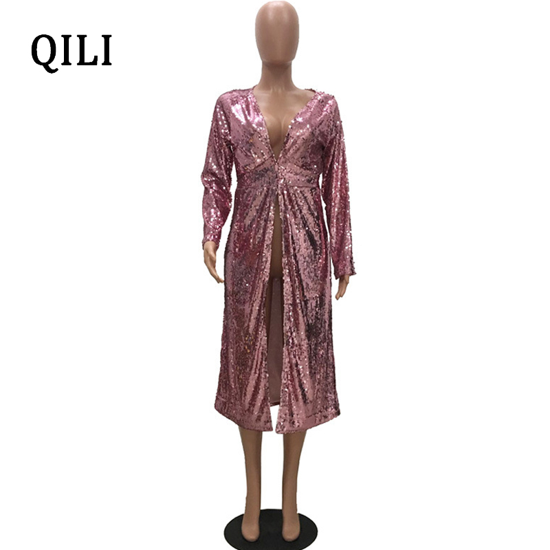 QILI Long Shirt Sequins Dress For Women New Autumn Long Sleeve V neck High Waist Open Shirt Dresses Party Casual Womens Dress in Dresses from Women 39 s Clothing